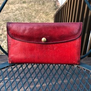 Coach Vintage Red Leather Checkbook Wallet